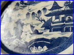 19th Century Antique Chinese Canton Export Blue White Porcelain Platter