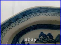 19th Century Blue and White Chinese Canton Porcelain Serving Plate