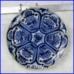 19th Century Large Delft Wall hanging Charger Plate Blue White Antique