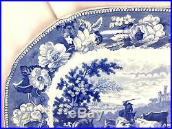 19th c Blue & White English Staffordshire Transferware Platter with Farmer/Cows