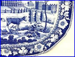 19th c Blue & White Staffordshire Transferware Platter with MA State House