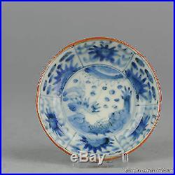 19th c Japanese antique porcelain dish plate arita blue white edo decoration