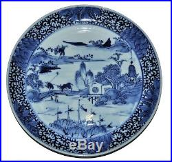 19th century Chinese blue and white plate, scene of village, farmer, river, cow