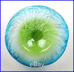 20 Hand Blown Art Glass Table Platter Plate Blue White Green Wall Hanging Mount