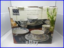 222 Fifth ADELAIDE-BLUE & WHITE 17 piece set Missing A Few Plates