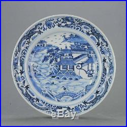 26.9cm Antique 19C Chinese Porcelain Plate Blue White Figures Wise Men Butter