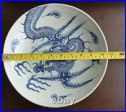 27cm. Chinese Antique DRAGON Porcelain Blue and White Ceramic Plate Handpainted