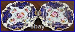 2 Antique Unmarked Coalport Cobalt Blue Floral Gold Cake Plates Ex-condition