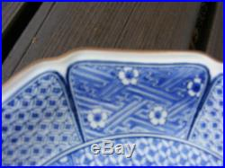 2 Vintage Japanese Chinese Chargers Plates Blue And White Signed
