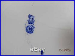 2 (two) Antique Royal Doulton TURKEY Dinner Plates Blue White Geometric Rim