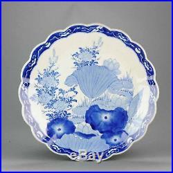 38CM Antique 19C Japanese Charger Arita Flowers Blue White