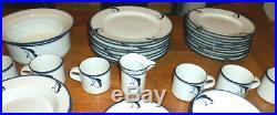 38 Piece Dansk Flora Bayberry Blue White Japan Set Dinnerware Plates Cups Etc
