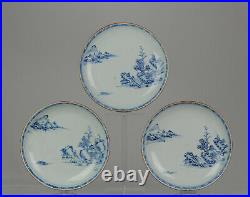 #3 Antique 18th C Chinese Porcelain Qianlong Blue And White Plates Landscape