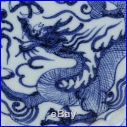 3 China old antique Porcelain Ming Blue & white Dragon Saucer Plate