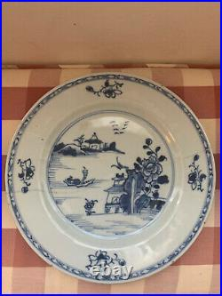 3 X 18th Century Chinese Export Hand Painted Blue & White Plates Dishes