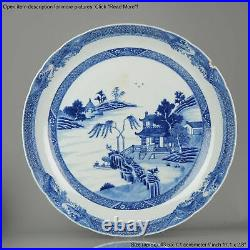 43.5CM 18th Century Chinese Porcelain Qianlong Period Blue and White Lan