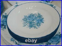44 Pcs Corelle Blue Velvet Rose Plates Bowls Cups Shakers Creamer Sugar EUC