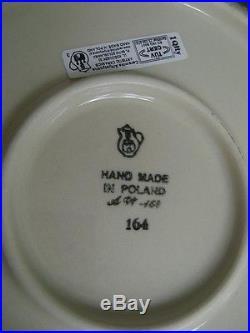 4 Pc Lot Polish Pottery Ceramic Ceramika China Stoneware Blue White New Plates