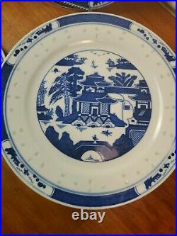 4 Vintage Chinese Export Porcelain Plates Blue & White Canton Bright Color