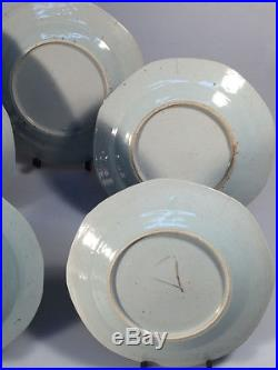 5 Antique Canton ware Chinese export Blue and White plates