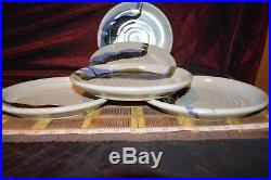 5 Handmade Pottery Round White with Blue & Brown Dinner Plates 10 1/8 Signed
