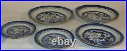 5 PCS Antique Chinese Export Blue White Canton Porcelain Plates Bowls