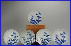 #5 Set Antique 18th/19th C Japanese Arita Nabeshima Blue White Dishes Un