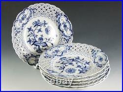 (6) Meissen BLUE ONION Blue & White 8 Plates Crossed Swords
