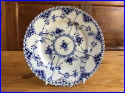 6 Royal Copenhagen 1st Quality Blue & White Fluted Full Lace Side Plates -1087