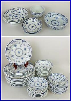 71pc FURNIVALS Denmark Blue White Delft Porcelain China Set Plates Bowls Dishes