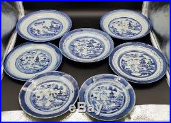 7 Pcs Chinese Canton Blue And White Porcelain Plates Bowls