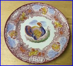 8 Staffordshire England Turkey Plates Red & White with Orange, Blue, Green, Yellow