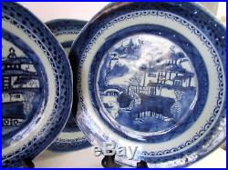 8 pc Antique 1830 Asian Chinese CANTON Blue White Export Porcelain Plates AS IS