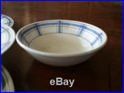 8 pc RARE CRATE & BARREL BLUE & WHITE PLAID PLATES BOWLS DINNER CEREAL SALAD