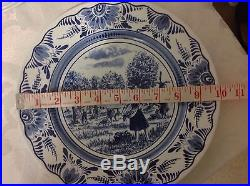8ct Vintage Luneville France 10in Plates, Blue/White in 4 Dif Outdoor Scenes