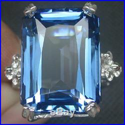925 Sterling Silver London Blue Topaz Ring Size M White Gold Plate
