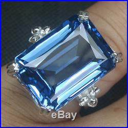 925 Sterling Silver London Blue Topaz Ring Size O White Gold Plate
