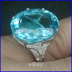 925 Sterling Silver Paraiba Blue Green Apatite Size O White Gold Plate