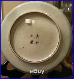 99Antique Chinese Blue & White Hand Painted Porcelain Plate with Mark. 18th C