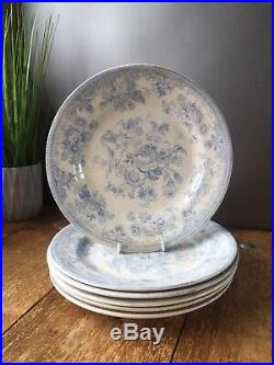ANTIQUE 19THc SET OF 6 BLUE & WHITE ASIATIC PHEASANT DRESSER DINNER PLATES C & E