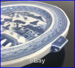 ANTIQUE 19th C. 10 CHINESE EXPORT BLUE & WHITE CANTON WARMING DISH PLATE