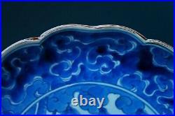 ANTIQUE JAPANESE ARITA KAKIEMON STYLE DISH HAWK Blue & White porcelain Edo