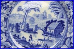 ANTIQUE STAFFORDSHIRE WILD ROSE BLUE & WHITE PLATE c. 1830