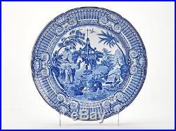 ANTIQUE STAFFS BLUE & WHITE ORIENTAL GARDEN PLATE c. 1820