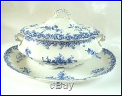 ANTIQUE WEDGWOOD PORCELAIN SOUP TUREEN with UNDER PLATE PLATTER BLUE & WHITE