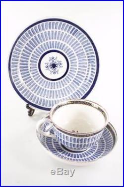ANTIQUE c. 1792 FLIGHT & BARR WORCESTER BLUE WHITE BREAKFAST CUP SAUCER PLATE