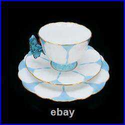 AYNSLEY Antique Butterfly Handled Blue White Trio Set Cup & Saucer & Plate