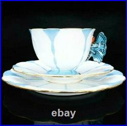 AYNSLEY Butterfly Antique Handled Blue White Trio Set Cup & Saucer & Plate Japan