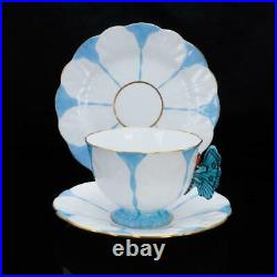 AYNSLEY Butterfly Antique Handled Blue White Trio Set Cup, Saucer, Plate Set Used