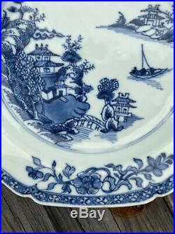 A 18th c. Antique Chinese Pagoda Plate Blue White Porcelain